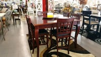 rectangular brown wooden table with six chairs dining set Shreveport, 71107