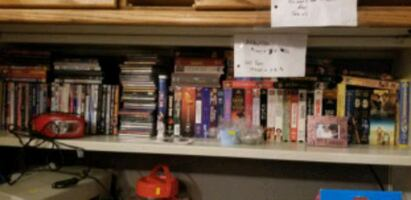 DVDs, CDs, VHS and books