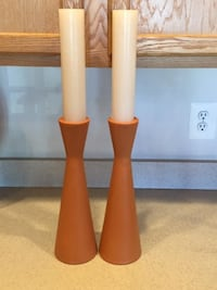 Home Décor Set of Terra Cotta Candle Holders Candlesticks with New Candles