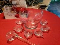 Crystal punch bowl with 6 cups and glass laddle. Port St. Lucie, 34952