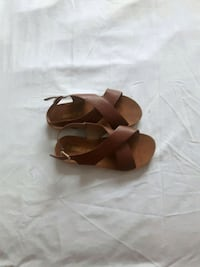pair of brown leather wedge sandals Montréal, H1G 3M6
