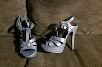 Ice blue platform stilletos size 7M  3750 km