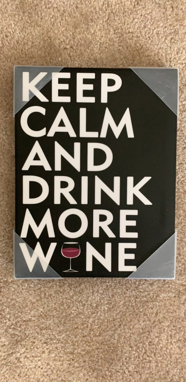 Black and white keep calm and drink wine board