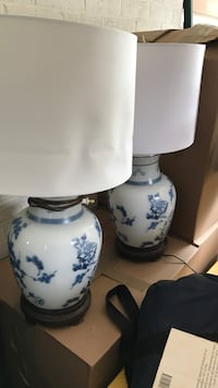 white and blue floral ceramic table lamp Potomac, 20854
