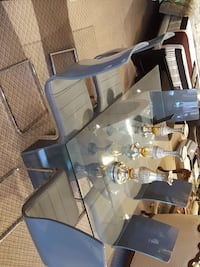 rectangular clear glass top dining table