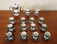 Tea set 29 pc navy blue and gold