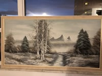 painting of trees with brown wooden frame Toronto, M4C 5N2