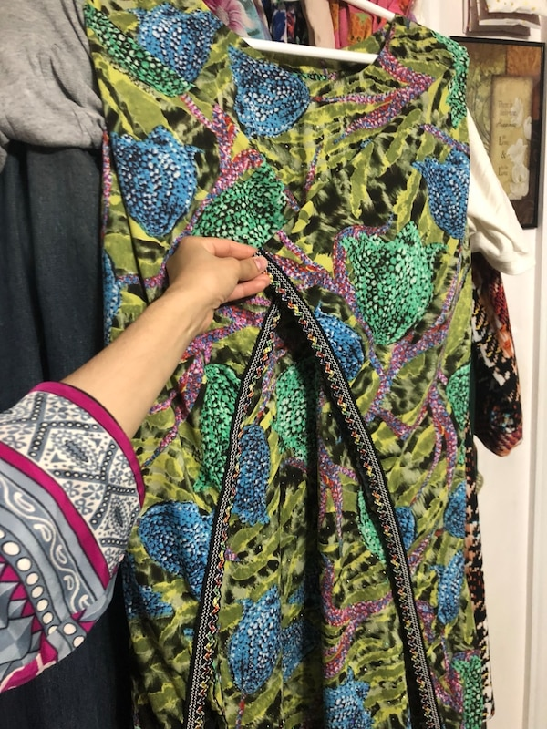 3 piece stitched butterfly frock style shirt trousers n long scarf included size medium to large