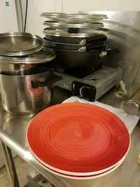 round red ceramic plate and stainless steel casseroles Brooklyn, 11230