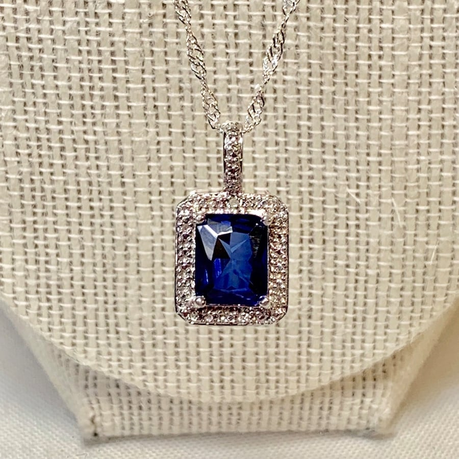 Genuine Sterling Silver Sapphire Halo Pendant with Sterling Chain dcbe9999-2b31-4645-81ba-fbc129b72fc8
