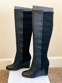 Boden Black Tall Wedge Boots