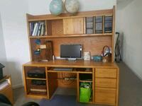 Solid Oak Desk and Hutch (2 pc) sold together 60 km