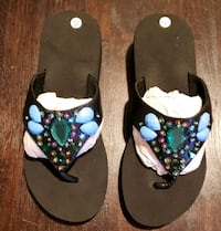 New, flip flops decorated with gems