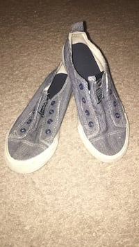 Pair of gray-and-white low-top sneakers