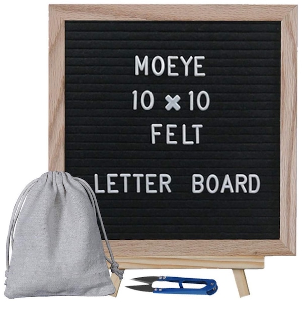 moeye 10x10 inches black felt letter board changeable message board with wooden tripod stand include