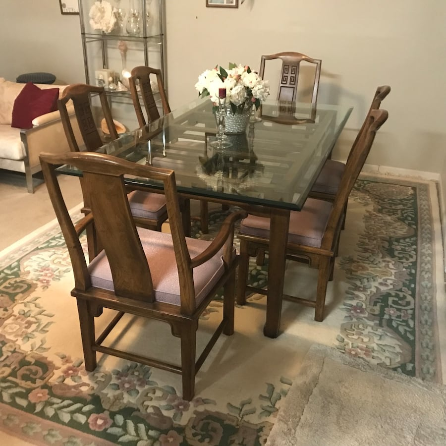 Rectangular glass top table with 8  chairs dining set b5cde2c2-f576-4a5f-b427-202bb1efdec5