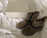 size 5 pair of brown suede booties with white box Gainesville, 20155