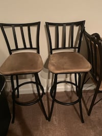 two brown padded chairs with black steel frames Arlington, 22206