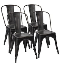 4 Black Antique Metal Stackable Chairs (New in Box) Los Angeles