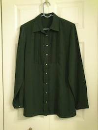 Dark Green Button Front Blouse West Springfield
