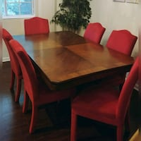 Mahogany wood table 6 red chairs dinning  Woodbridge, 22192