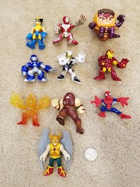 Assortment of (10) DC & Marvel Super Hero Squad Action Figures Springfield