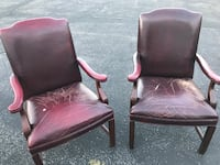Two red leather padded armchairs Green Tree, 15205