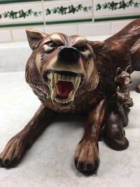 Large Wolf Figurine with smaller wolves