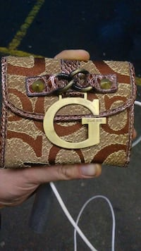 brown and purple guess 3-fold wallet