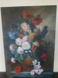 assorted-color flowers in brown vase painting