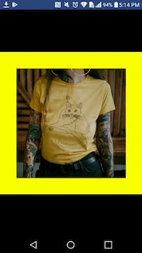 NEW: large Yellow Unisex Funny CAT tshirt  *Size is LARGE however I wo Edmonton, T6X 1J9