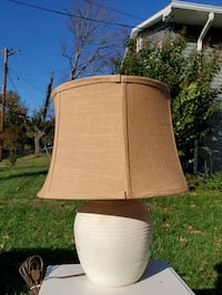 Cream Colored Textured Lamp with Tan Lampshade