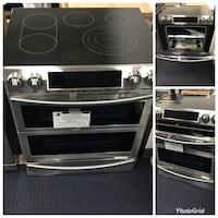 grey stainless steel smooth-top induction range oven collage