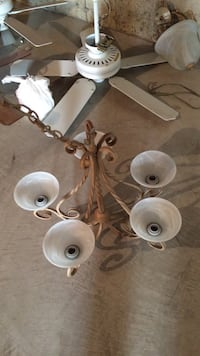 white and brown uplight chandelier Pretty Prairie