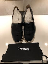 Brand New Authentic Chanel Espadrilles Black Leather Shoes Puslinch, N1H