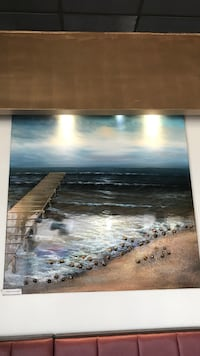 brown wooden framed painting of ocean Rockville, 20852