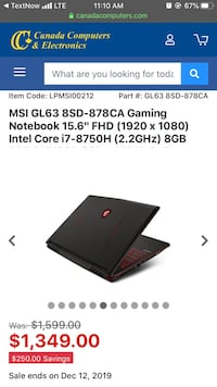 *Brand new sealed* MSI GL63 8SD-878CA Gaming Laptop / notebook