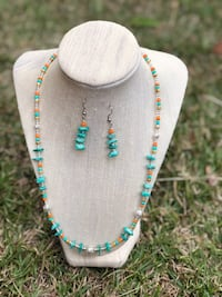 Orange and cyan beaded necklace