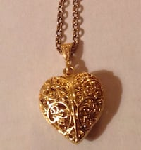 """Goldtone Puffy Filigree Heart Necklace - 24"""""""
