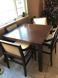 rectangular brown wooden table with four chairs dining set 2402 mi