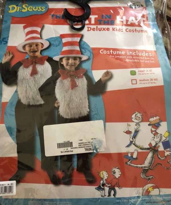 Child cat in the hat costume size 4-6 0