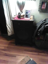 black wooden table with drawer, photo frame and table lamp Camino, 95709