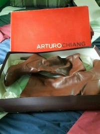 Arturo Chiang mid-calf all lambs leather  boots w/leather sole size 9
