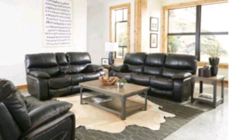 black leather sofa set with coffee table rh us letgo com