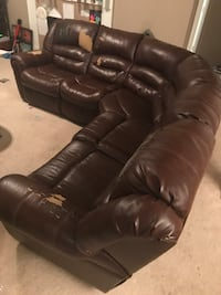 brown leather sectional recliner couch