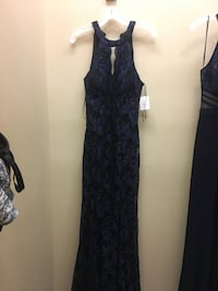 Women's black and blue lace floral sleeveless gown