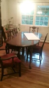 oval brown wooden table with four chairs dining set Bohemia, 11716
