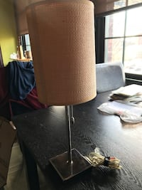 Tan and silver side table lamp