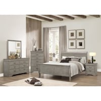 Assorted gray wooden bed room furniture