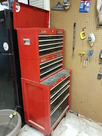 two red tool cabinet